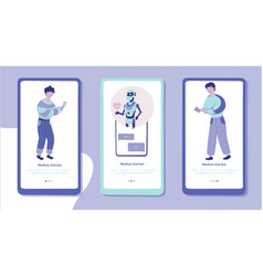 Medical chat-bot mobile app page screen template vector