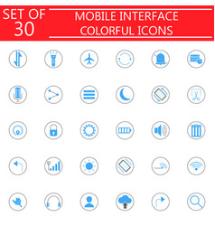 mobile interface colorful icon set vector image