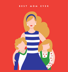 mothers day card for happy family holiday vector image
