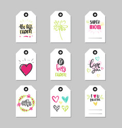 mothers day holiday cards set tag shape isolated vector image