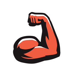Muscular arm with clenched fist gym power symbol vector