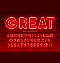 Neon light alphabet numbers extra glowing font vector