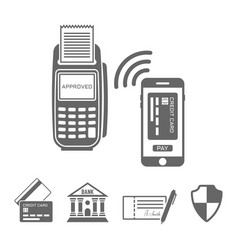 Nfc paymant with smartphone icons vector