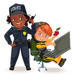 Not female professions strong woman police vector