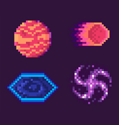 Pixel game icons planets space celestial bodies vector
