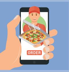 Pizza delivery service e-buy pizza vector