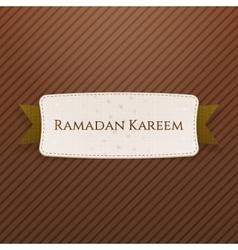 Ramadan Kareem festive Tag with Text and Ribbon vector
