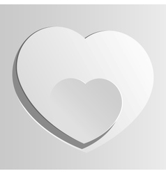 Realistic two Heart cut out of paper Valentines vector image