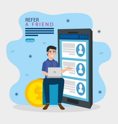 Refer a friend with man and smartphone vector