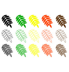 rowan leaf color set vector image