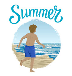 running boy in summer vector image
