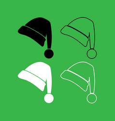 santa claus christmas hat icon black and white vector image