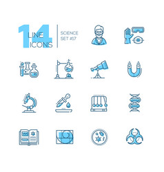 science - coloured modern single line icons set vector image
