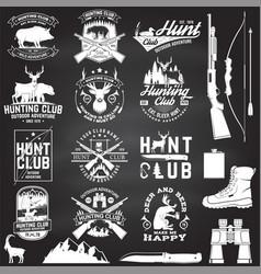 Set hunting club badge on chalkboard vector