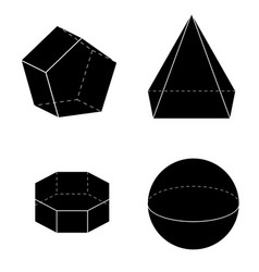 set of basic geometric shapes geometric solids vector image