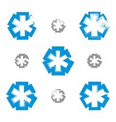 Set of brush drawing simple blue ambulance symbols vector