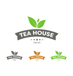 Set of logos with ribbons and leaves for a tea vector