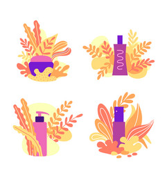 Set of natural cosmetic composition with leaves vector
