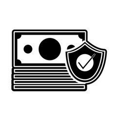 Silhouette bills cash money with security shield vector