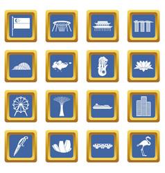 Singapore icons set blue vector