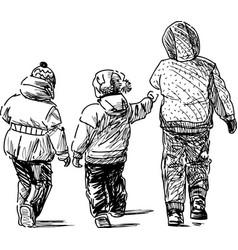 Sketch kids on a stroll vector