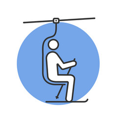 Ski chairlift with skier color icon vector