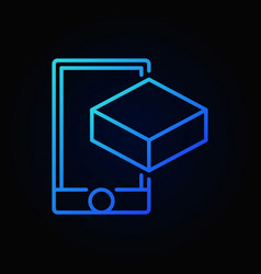 smartphone with cube blue line icon ar vector image