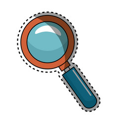 Sticker shading magnifying glass with with vector