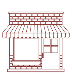 Store facade with sunshade in dark red contour vector