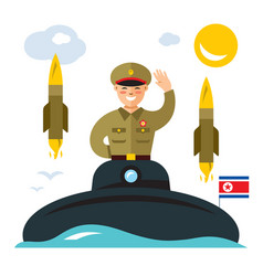 Submarine of north korea flat style vector