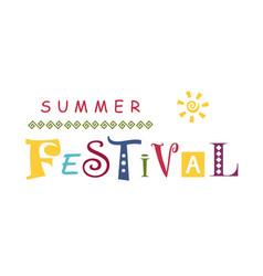 Summer festival with different letters vector