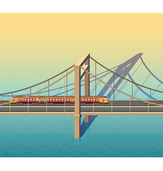 Sunny railway bridge vector