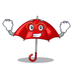 Super hero red umbrellas isolated in a mascot vector