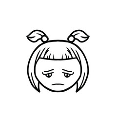 thin line sad face icon vector image