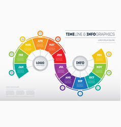 Timeline business infographic concept with 12 vector