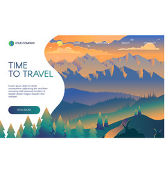 travel agency flat landing page template vector image