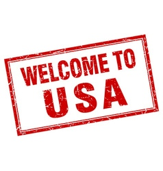 Usa red square grunge welcome isolated stamp vector