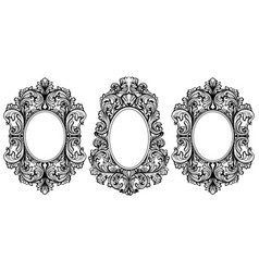 Vintage baroque frame decor set detailed ornament vector