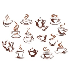 Vintage brown coffee cups and pots vector image