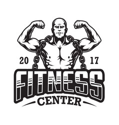 Vintage fitness logo template vector