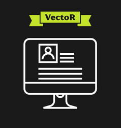 White line computer monitor with resume icon vector