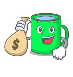 with money bag mug character cartoon style vector image