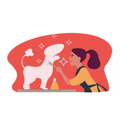 woman caring for hygiene of pet animal doggy vector image