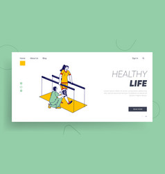 Woman with disabilities physiotherapy landing page vector
