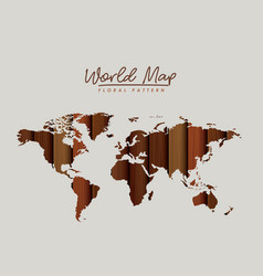 World map floral pattern with brown wood texture vector