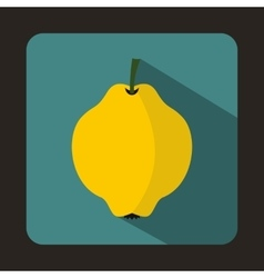 Yellow quince fruit icon flat style vector