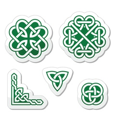 Celtic green knots patterns - vector image vector image