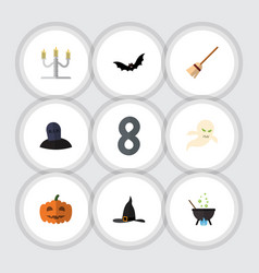 flat icon celebrate set of superstition broom vector image vector image