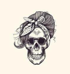 stylish human skull with fashionable 1960s vector image vector image