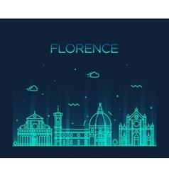 Florence skyline silhouette linear style vector image